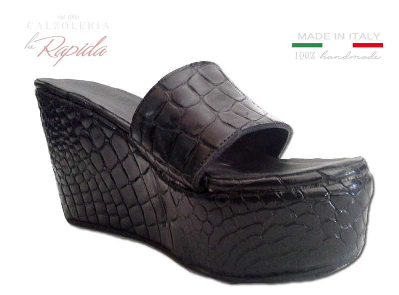 ► Zeppe in Sughero rivestite in Pelle Nera | 100% Made in Italy | LA RAPIDA