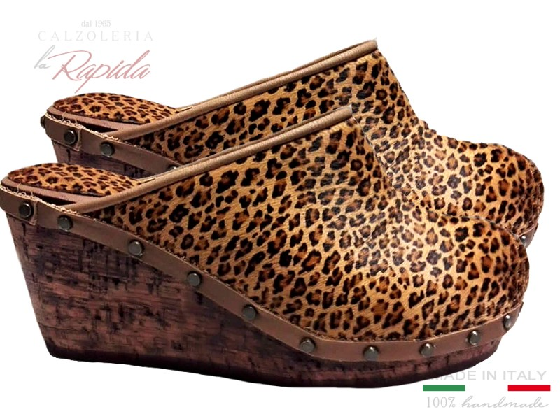 Zeppe donna in sughero leopardate maculate estate | La Rapida