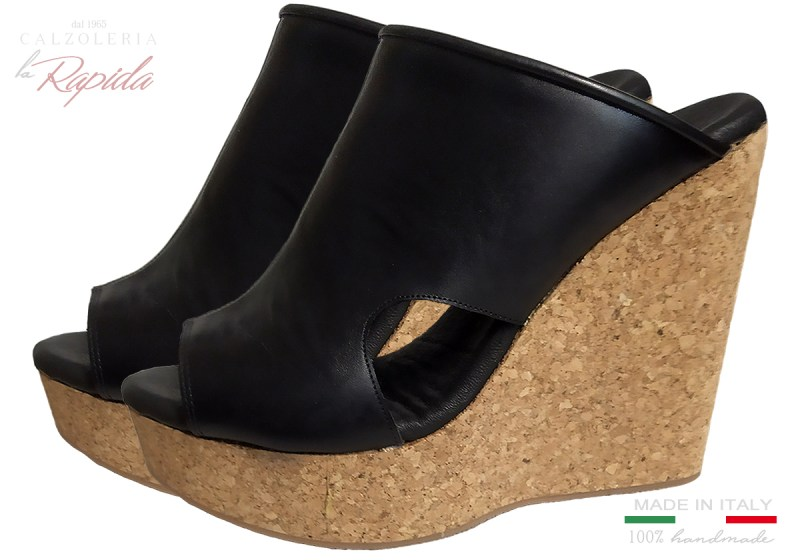 Zeppe Donna Alte in Sughero Artigianali Estate in Pelle Cork Wedge Sandal