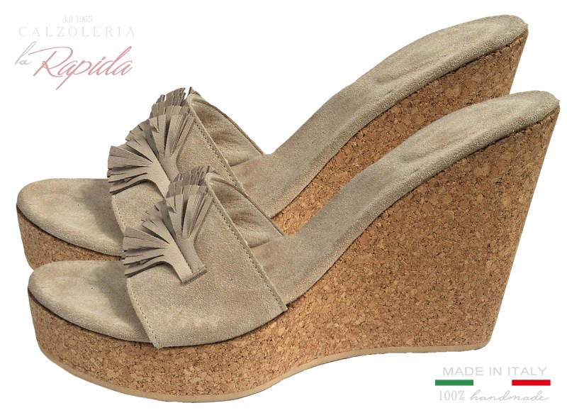 High Heels Cork Wedges Zeppe in Sughero Alte da Donna Estate