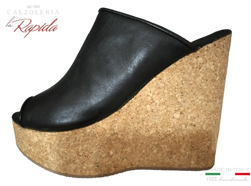 Zeppe Donna Alte in Sughero Artigianali Estate in Pelle Nera Cork Wedge