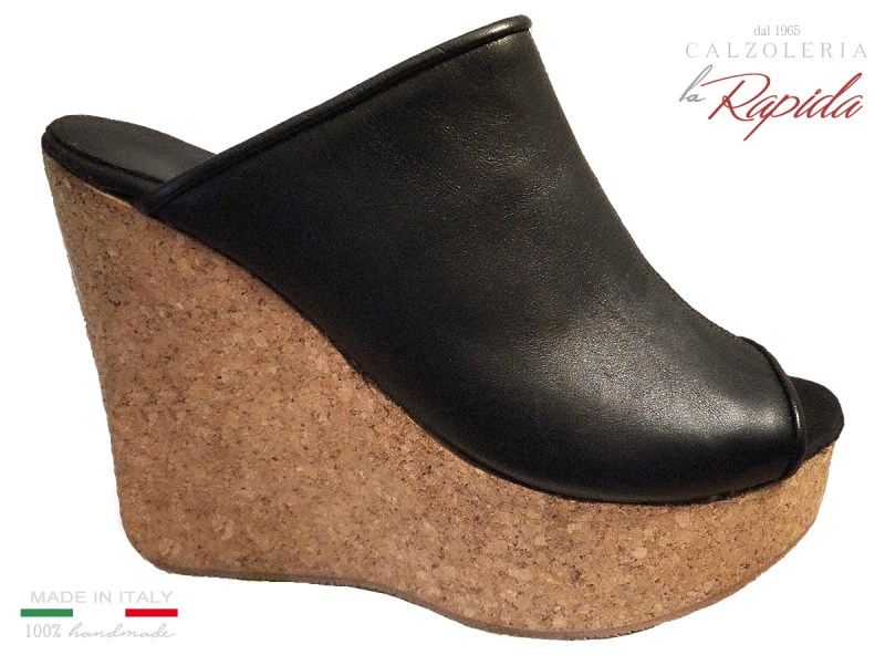 Cork Wedges Women Zeppa Donna Alta in Pelle Nera Estate