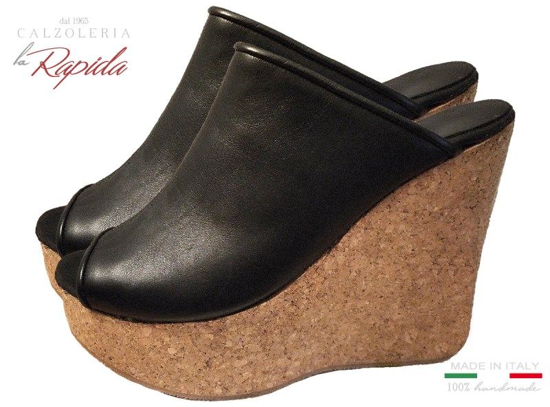 Zeppe Nere Alte Donna in Sughero Artigianali Estate in Pelle Cork Wedge
