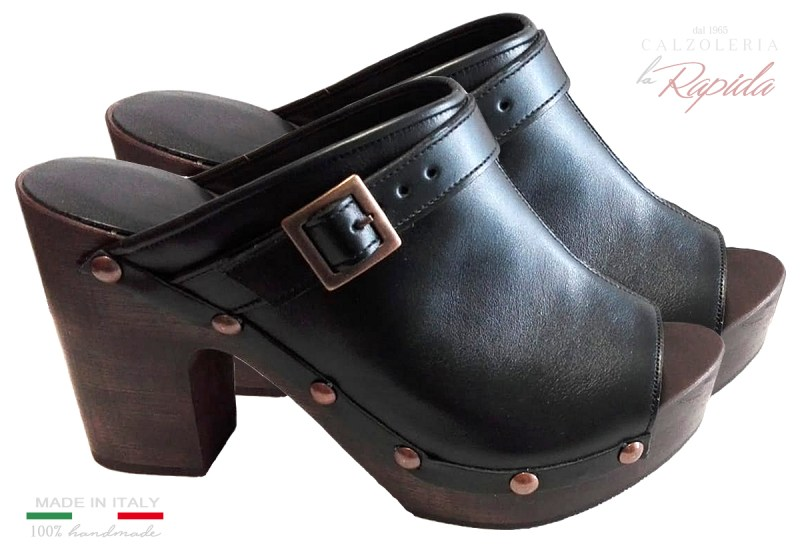 Danish Clogs Zoccoli Danesi Pelle Marrone Mules Clogs