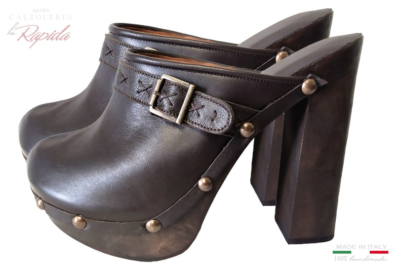 Sabot Donna Mules Shoes Marroni in Pelle