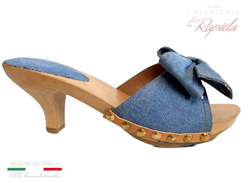 Clogs Women Denim Jeans Summer High and medium heels