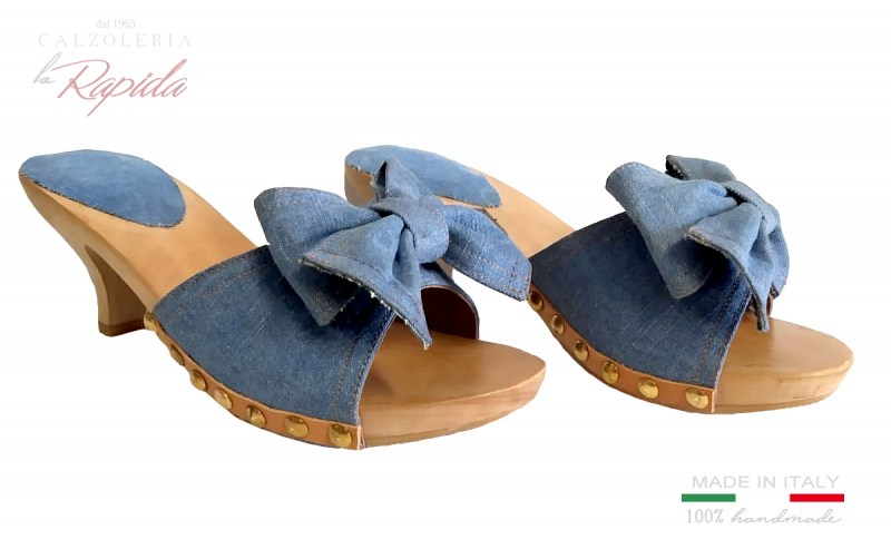 Clogs Women Denim Jeans with elegant bow Summer High and medium heels