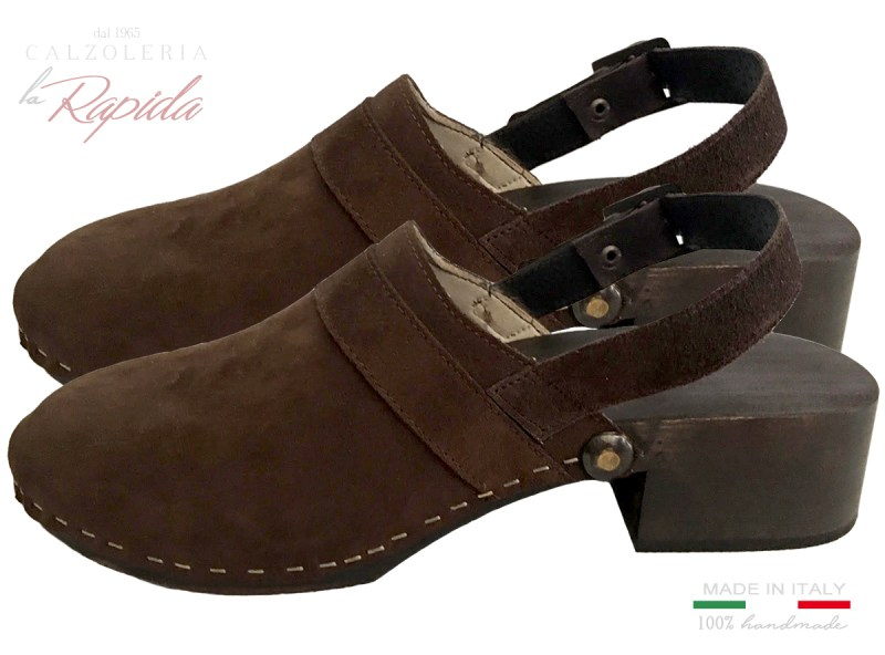 Clogs Donna in pelle Camoscio Marrone con Laccio Estate