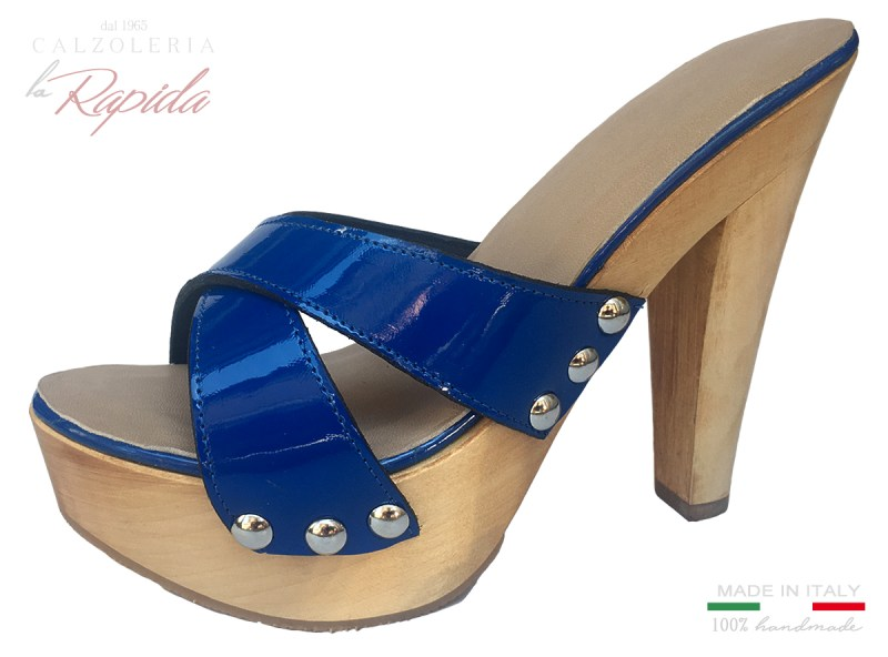 Zoccoli Donna Tacci a Spillo in Pelle Blu Lucida Estate Woman Clogs Blue Hiigh Heels