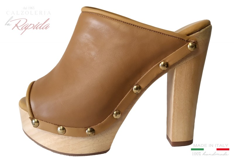 Scarpe Sabot Donna in Pelle color Cuoio Naturale