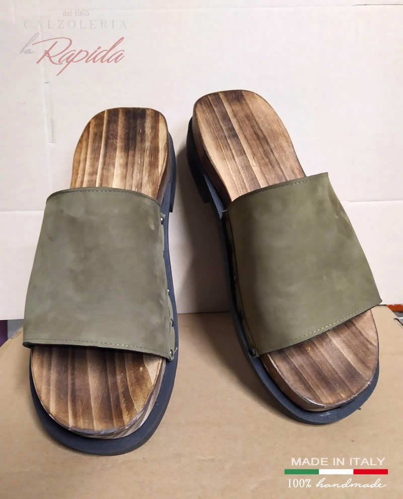 Zoccoli military green in pelle verde militare | La Rapida