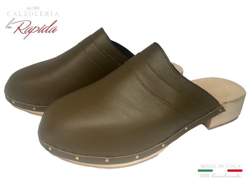 Zoccoli Uomo Mules Clogs Sabot in Pelle Made in Italy Aritiganali