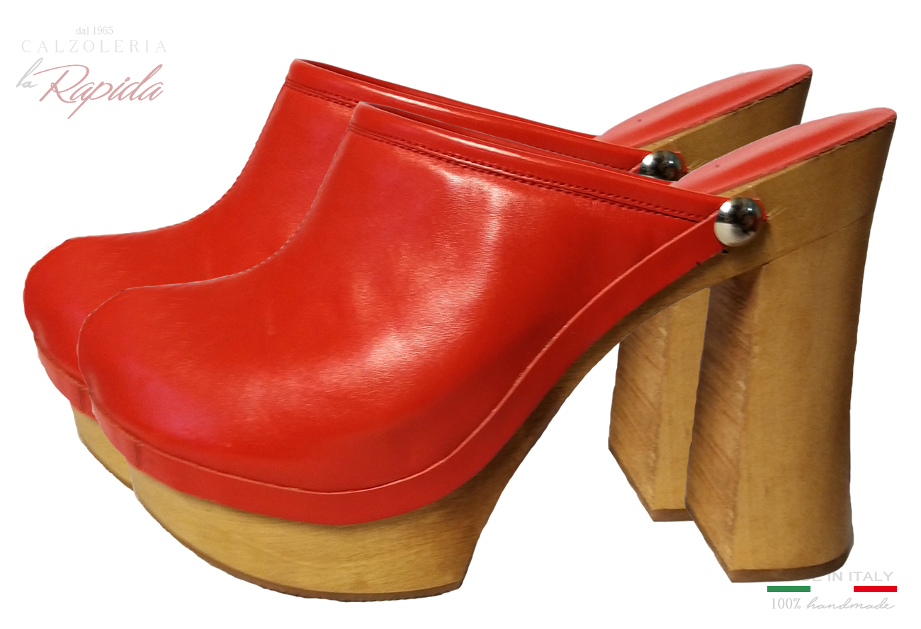 Red Sabot Donna Mules Shoes in Pelle
